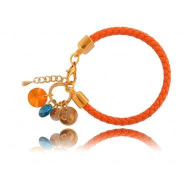 bransoletka, kryształki, pomarańczowa