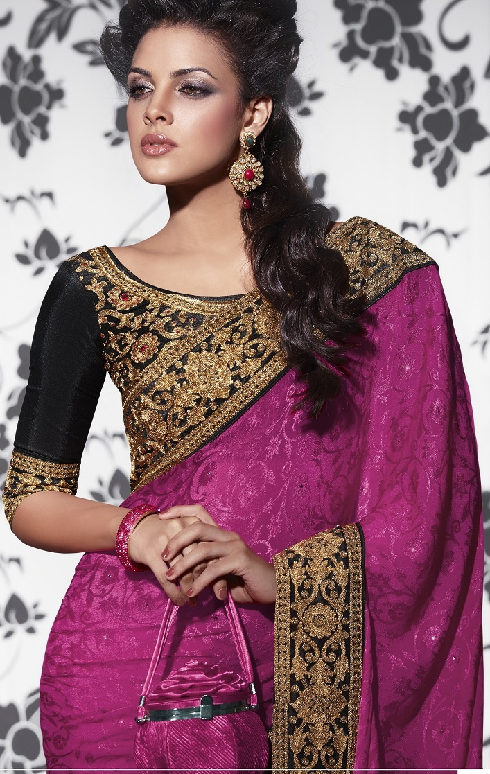 Charming sarees with designer blouse...