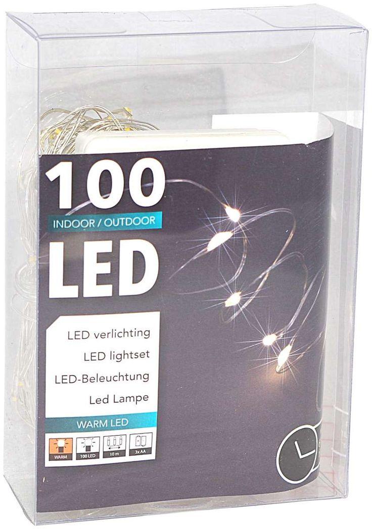 100er LED Draht-Lichterkette mit Timer für außen und innen batteriebetrieben warmweiß