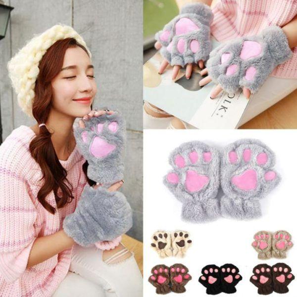 Cute Cat Paw Claw Short Mittens | JusCUTE #cat #paw #mittens #cute