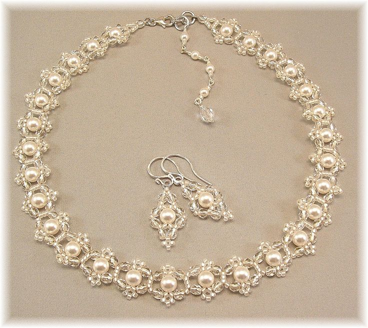 Bridal Choker Necklace Necklace and Earring Set by Handwired
