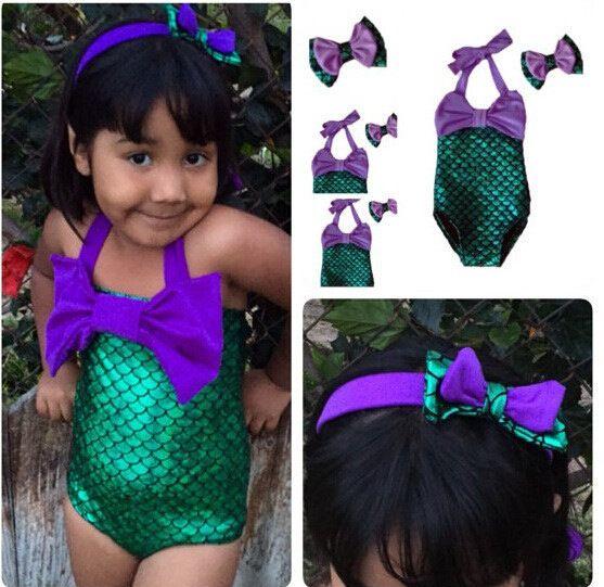 2016 Girls One Pieces Mermaid Swimwear Bathing Suit With Hearband Girls Beach Wear Swimsuit Children Clothing
