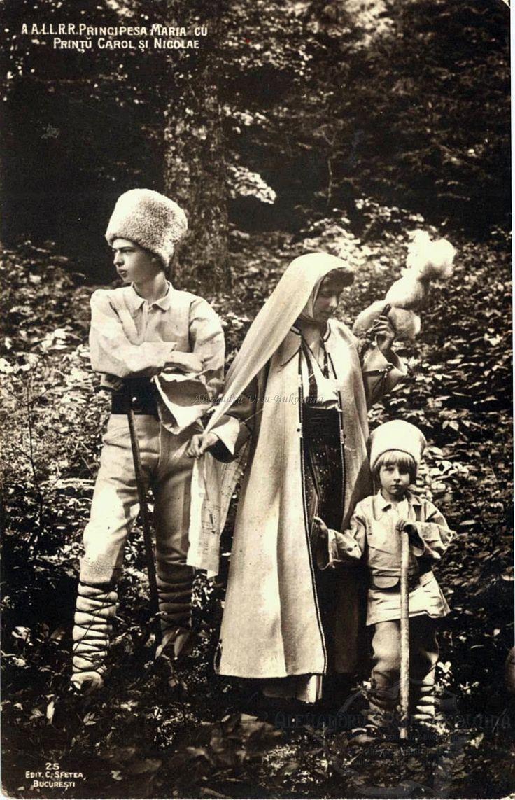 Principesa Maria a României cu Prințul Carol și Prințul Nicolae.
