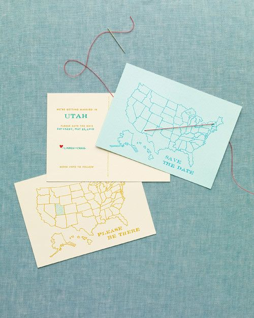 The vast majority of destination weddings are held Stateside. With that in mind, we created these two America-happy postcards that mark your big day—with a personal touch.