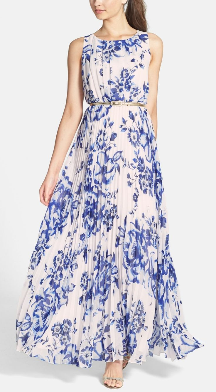 Flowing blue floral chiffon maxi dress.