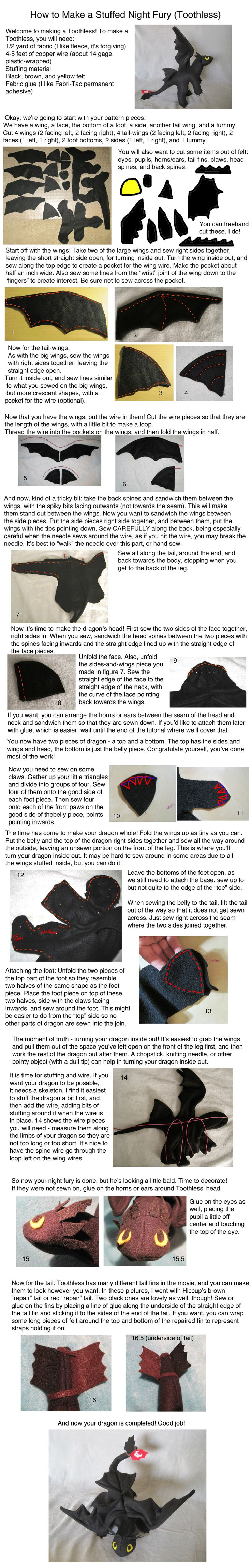 How to make a stuffed Toothless dragon from How to Train Your Dragon.