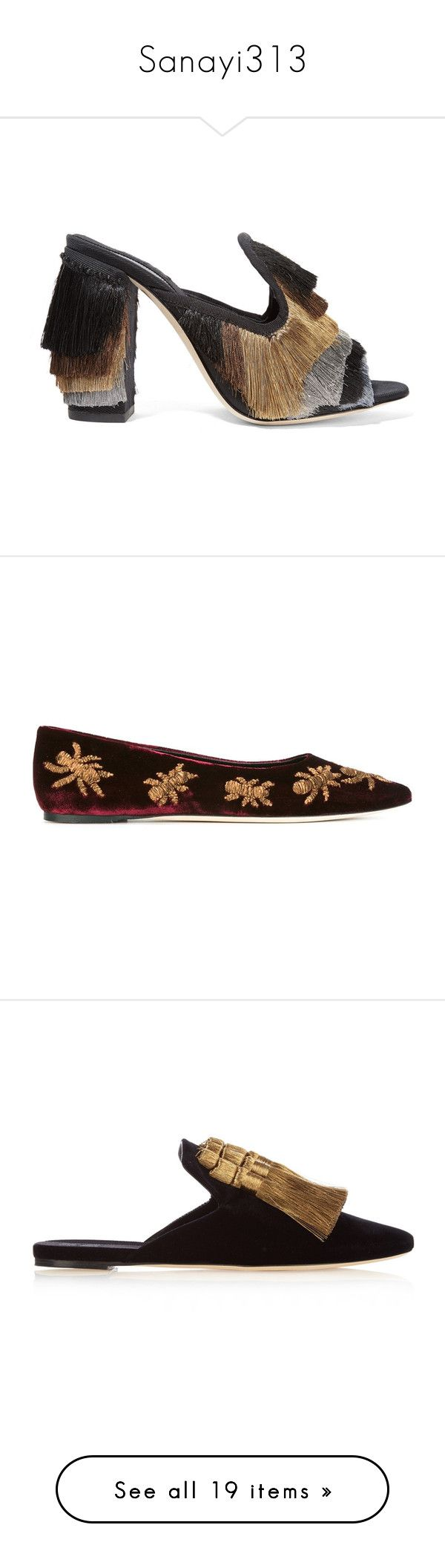"""""""Sanayi313"""" by maria-kononets ❤ liked on Polyvore featuring shoes, black, slip-on shoes, mule shoes, metallic slip on shoes, metallic shoes, embellished shoes, flats, red and ballet flats"""
