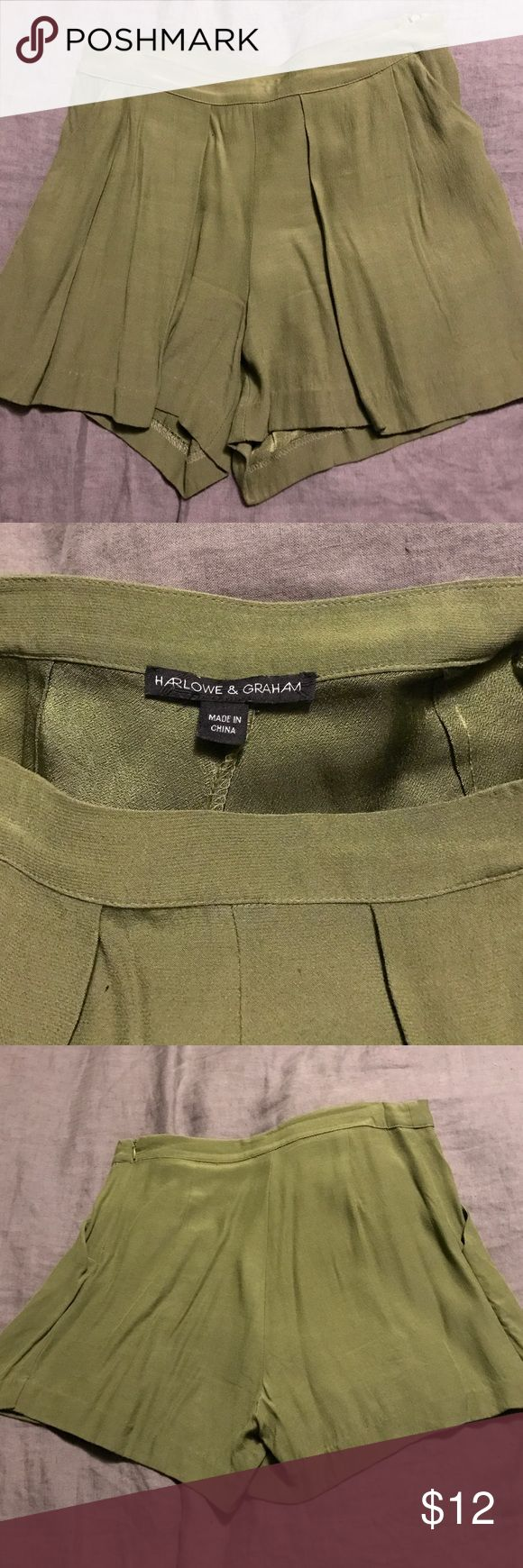 Harlow and Graham drapery olive shorts Harlow and Graham drapery olive shorts. Worn handful of times. Has slight pleating in the front. Approximately 14 inches in length from waist to hem. harlowe & graham Shorts