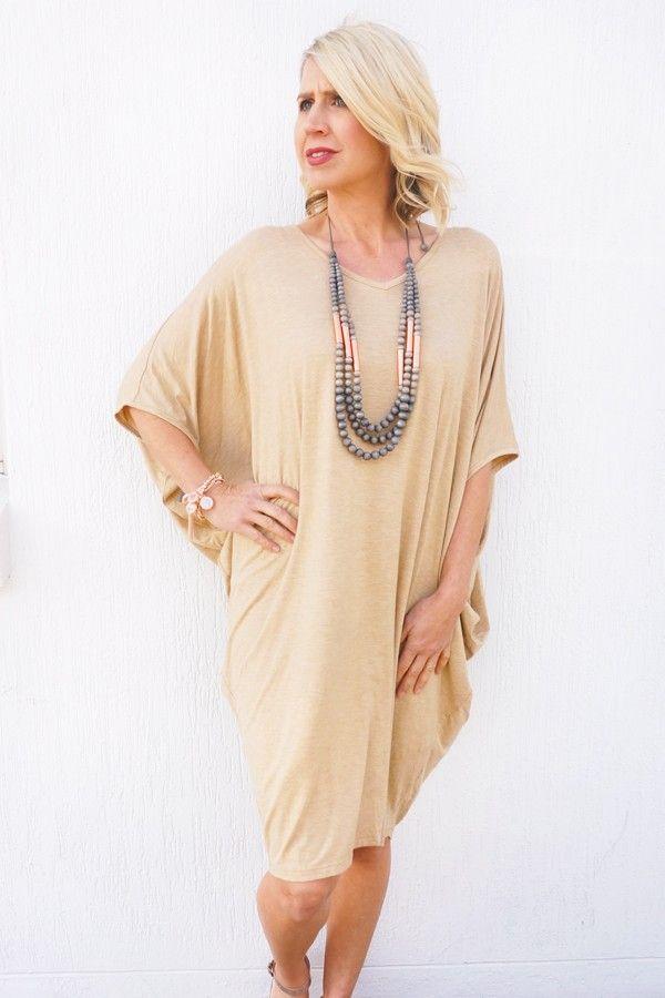 Beige Batwing T-Shirt Dress - Dresses - Clothing
