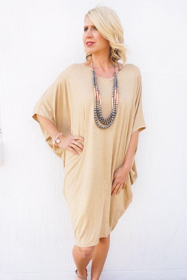 Beige Batwing T-Shirt Dress - Dresses - Clothing