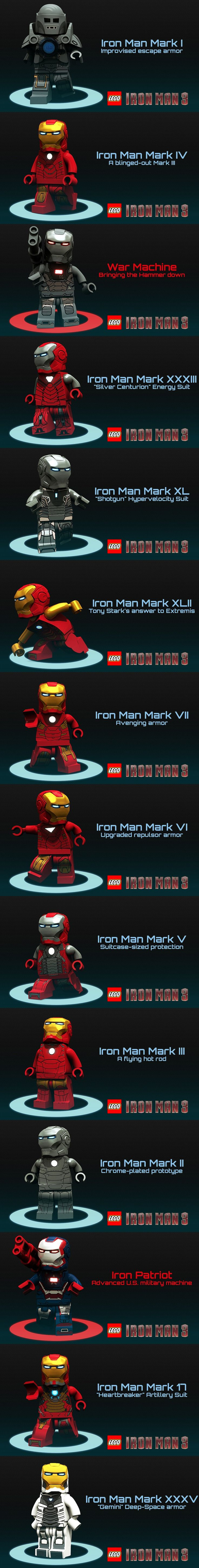 Iron Man suits (custom designs renderered in Blender) #LEGO #IronMan #blender