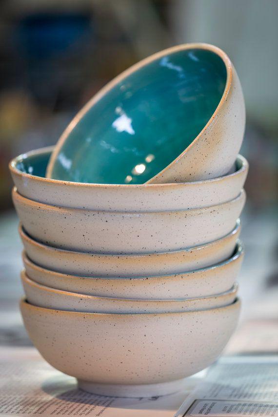 Kommen, soep en salade Turquoise schalen, kommen van granen, turquiose kommen, kom, woestijn bowl, unque kommen, aardewerk schalen, kommen van de wiel gegooid, unieke kom