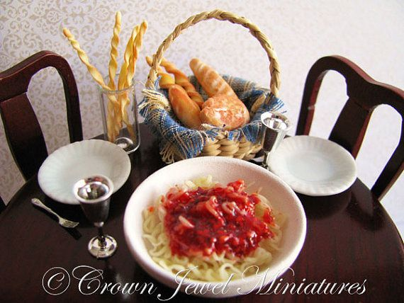Italian Pasta Bowl With Spaghetti and by CrownJewelMiniatures, $19.99