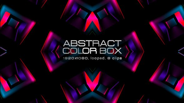 Abstract Color Box Video Animation | 8 clips | Full HD 1920×1080 | Looped | Photo JPEG | Can use for VJ, club, music perfomance, party, concert, presentation | #3d #blue #box #dance #disco #geometric #glow #loop #music #neon #pattern #rave #sequence #techno #vj