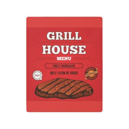 #Posters #Metal #Art - #Grill House Steak Menu Metal Print