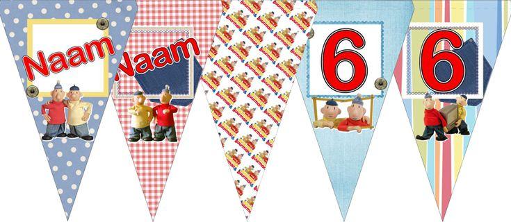 DIY vlaggenlijn van Buurman en Buurman met naam en leeftijd. Je ontvangt een PDF-bestand waarmee je deze vlaggenlijn zelf kunt maken. Ook leverbaar in andere thema's.
