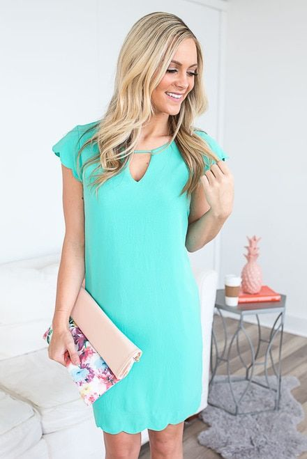 Cap Sleeve Scalloped Dress - Bermuda Jade