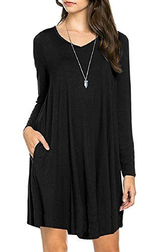 Women's Long Sleeve Pockets Casual Swing Basic Cotton T-shirt Dress