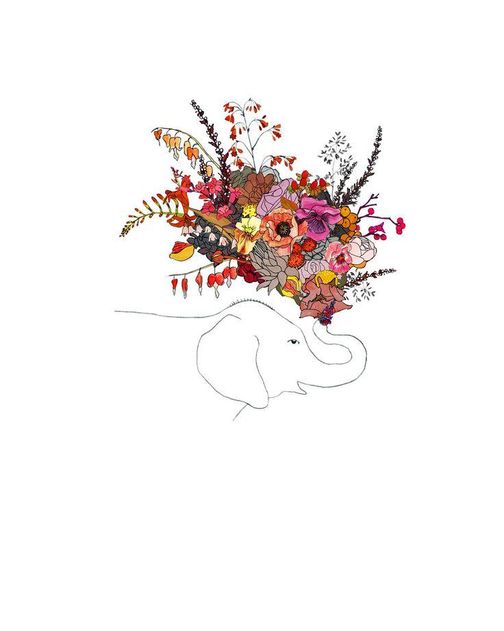 Elephant, flowers. 8x10 print. $20.00, via Etsy.