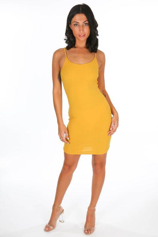 75f52c64bf6 Mustard Ribbed Jersey Cami Dress
