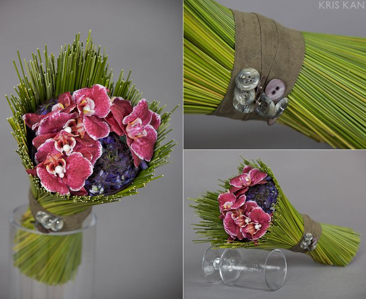 Cool #bouquet surrounded by reeds; other botanical products could be used in this fashion