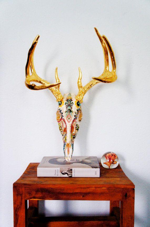 PreOrder+//+First+Dibs+Fully+Collaged+Deer+Skull+//+by+MyrandaE