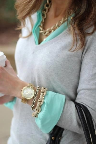 Vneck grey sweater, mint collared shirt, gold chain jewelry