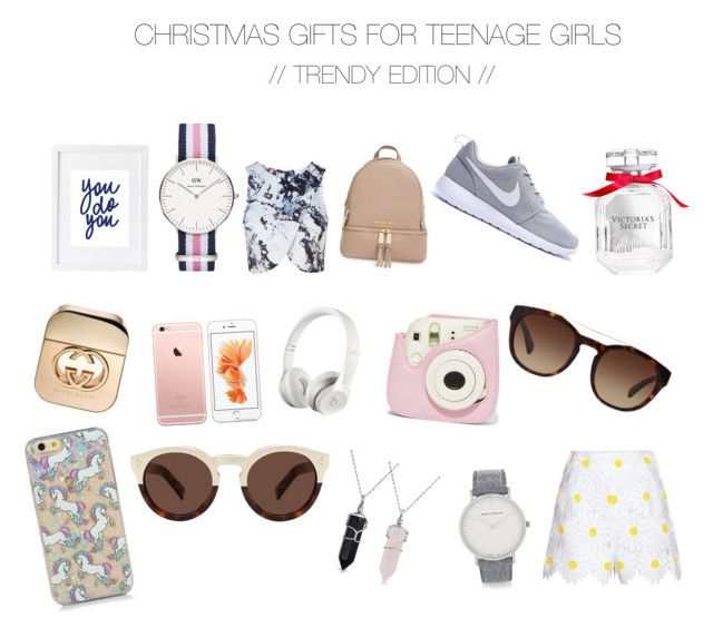 """CHRISTMAS GIFTS FOR TEENAGE GIRLS // TRENDY"" by georgieeaa on Polyvore featuring Topshop, MICHAEL Michael Kors, Victoria's Secret, Gucci, Beats by Dr. Dre, Dolce&Gabbana, Illesteva, Larsson & Jennings, Bling Jewelry and Daniel Wellington"
