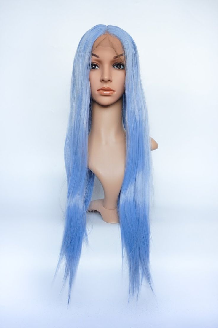 Ice Cold Pastel Blue Long Straight Front Lace Wig