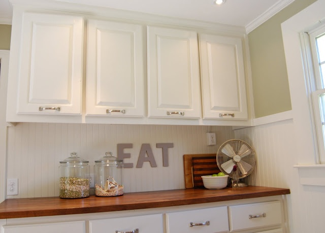 Wainscot backsplash kitchen pinterest signs - Wainscoting kitchen cabinets ...