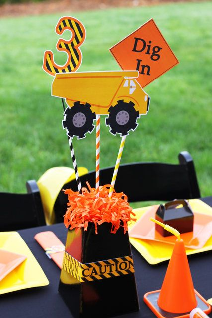 Such a fun centerpiece at a Construction Birthday Party! See more party ideas at CatchMyParty.com! #partyideas #construction