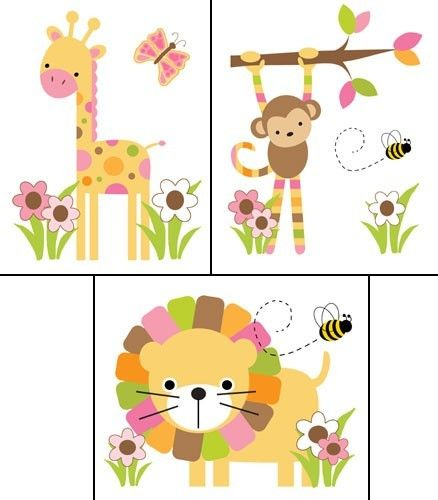 6 Mod Jungle Animals Wall Decals for baby girl nursery or kids room decor #decampstudios http://cgi.ebay.com/ws/eBayISAPI.dll?ViewItem&item=281167773473&ssPageName=STRK:MESE:IT