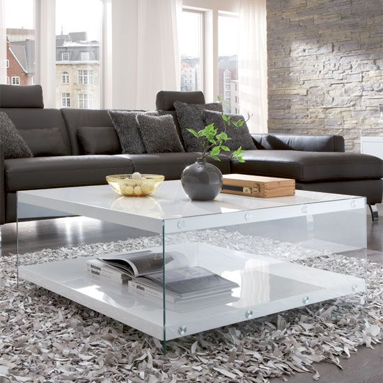 Tiffany White High Gloss Square Coffee Table Furniture: Olymp Glass Top Coffee Table With High Gloss White Side