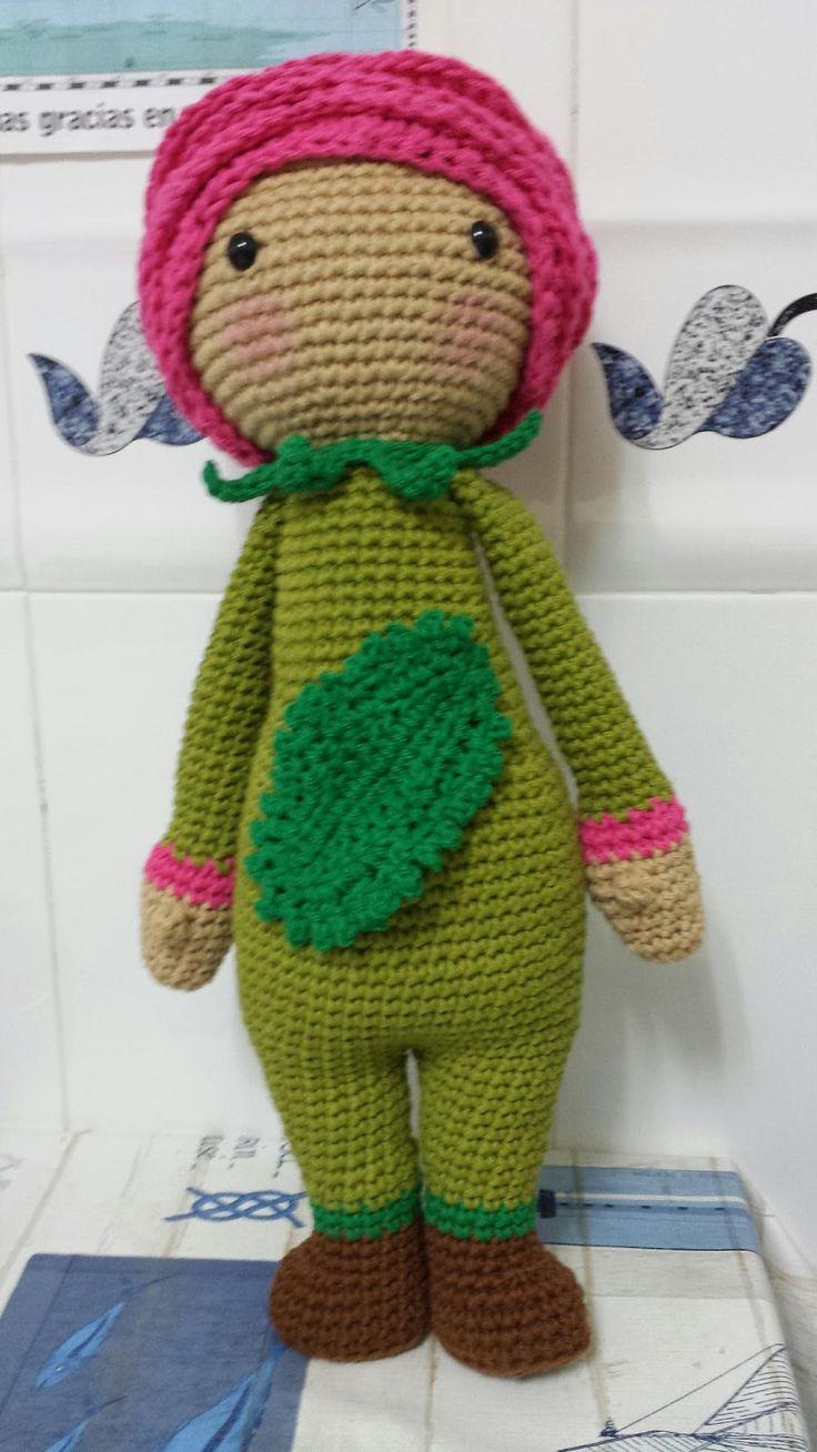 Pink Rose Roxy flower doll modification made by Eugenia H P - crochet pattern by Zabbez
