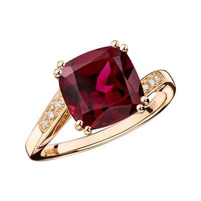Môme je t'aime, rhodolite, or rose, diamants