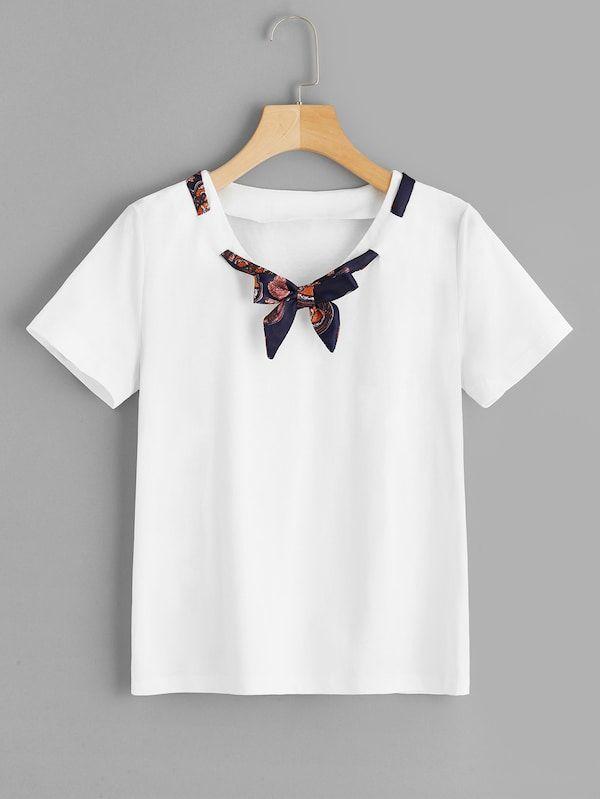 62eb44800f Solid Tie-neck Tee -SHEIN(SHEINSIDE) | wear in 2019 | Shirts, Tie ...