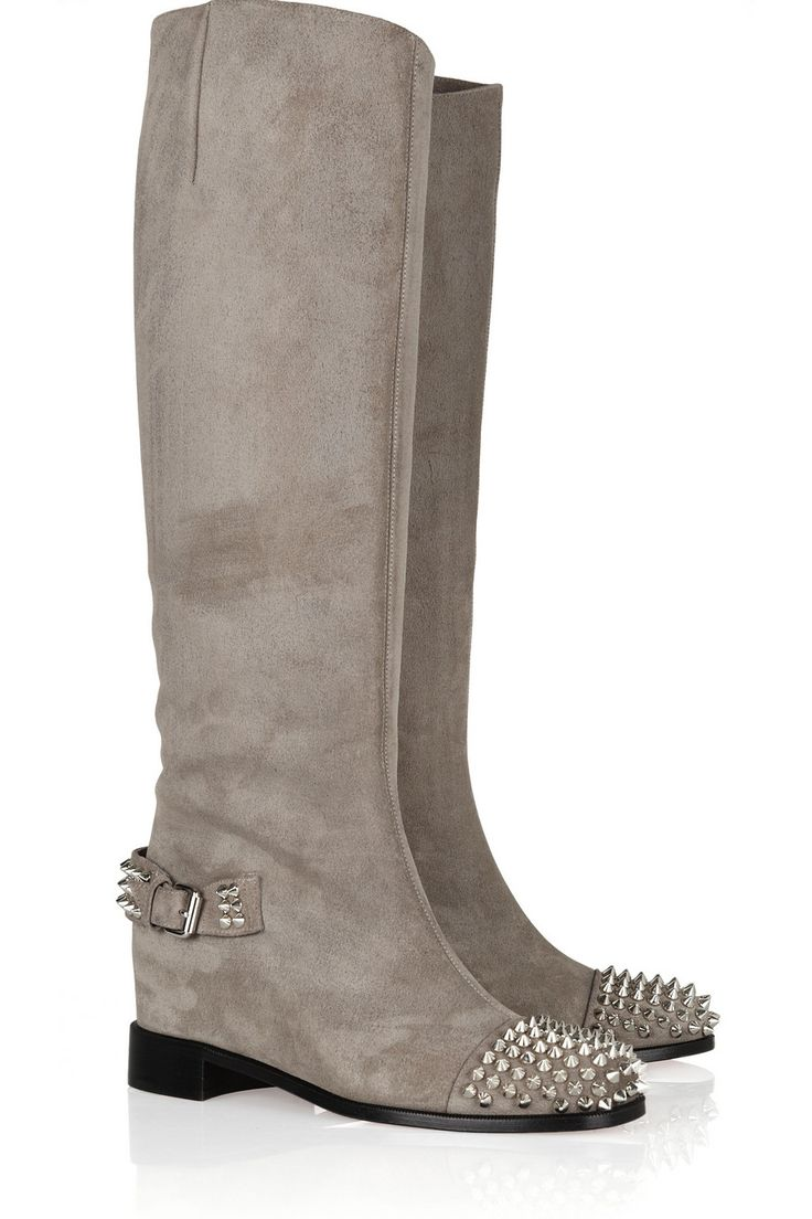 Christian Louboutin   Egoutina 70 spiked suede knee boots   � Flat BootsShoe  BootsRed Bottom ...