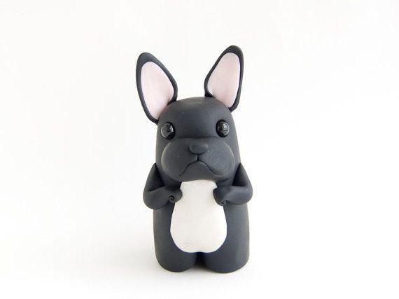 French Bulldog Figurine  Black Frenchie by by BonjourPoupette, $40.00
