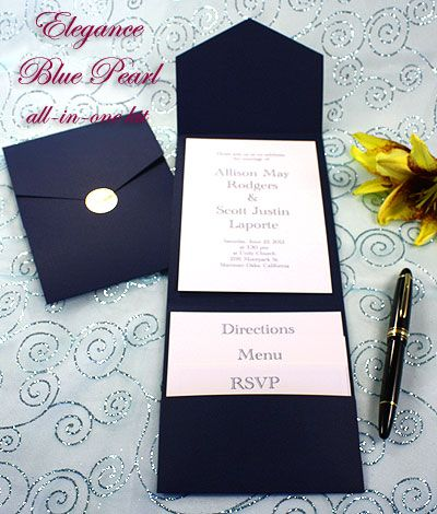 Elegance Pocket Invitations Navy Blue Like It All Things Wedding Pinterest And