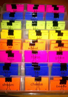 Word Sort Organization: I am so doing this for next year! No more tiny scraps of paper all over the room!