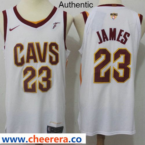 0b5d8313d Nike Cavaliers  23 LeBron James White The Finals Patch NBA Authentic  Association Edition Jersey