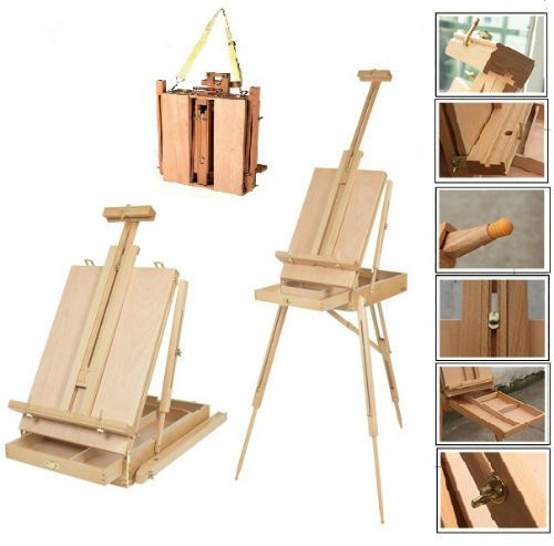 French Easel Portable Drawing Box Wooden Folding Artist Sketch Box Art Tripod  #Unbranded