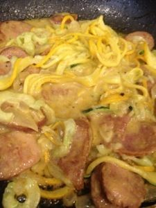 I am obviously obsessed with my noodle making contraption! I seriously cannot get enough! I made this yummy dinner and just had to share ! 2 Zucchini, julienned or run with noodle maker 1 onion, di…