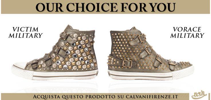 Non rinunciare allo stile #militare delle #sneakers Victim e Vorace, ricoperte da #borchie #dorate e #argentate!