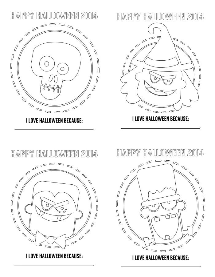 FREE Halloween Coloring Pages... Perfect to use as applique pattern!
