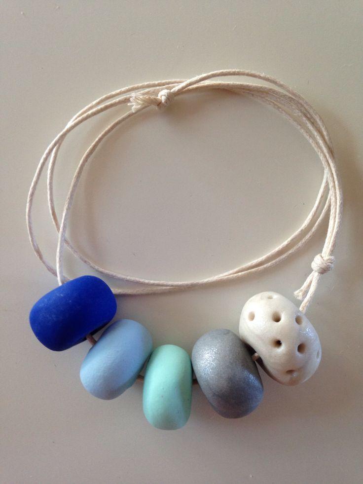 Blue Ombré Handmade bead necklace on adjustable cotton cord $25 (+ $2.75 postage) facebook.com/posieandme