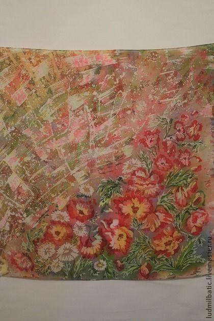 Цветущая поляна. Яркий, пестрый платок с цветочным рисунком, выполненный в технике горячий батик на крепдешине. Крепдешин - это вид шелковой ткани. Крепдешин имеет умеренный блеск, радует тем, что не теряет вид и всегда смотрится идеально!