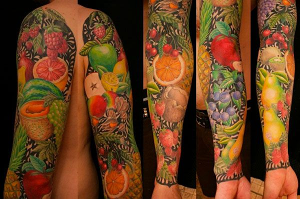 Crazy Fruit Tattoos by Sylvie LS of Unity Tattoo in Montreal