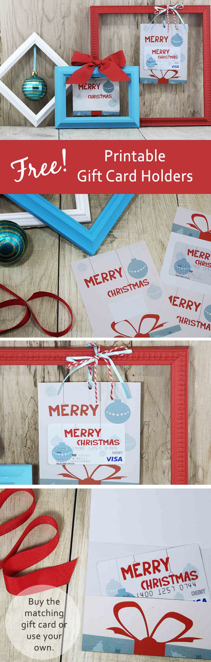 Free printable gift card holder with whimsical Merry Christmas design perfectly matches the gift card inside. Add a store gift card or cash instead. Easy to make and fun to give.