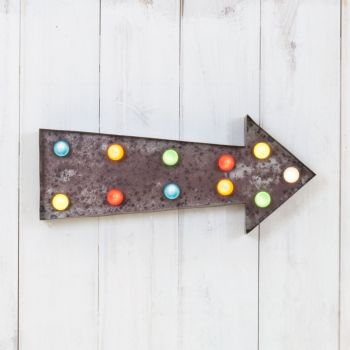 Vegas Metal L.E.D. Circus Light - Arrow Rustic with Coloured Lights - Vegas from Cult Furniture UK